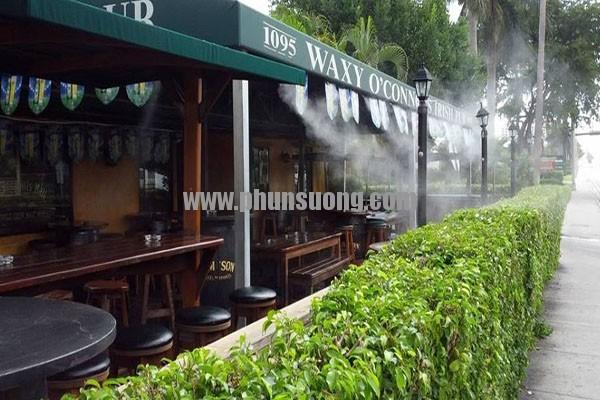 Hệ thống phun sương Hawin được sử dụng ở quán café tại Yên Bái