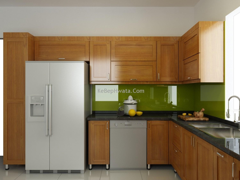 Tủ bếp khung inox cánh gỗ mang vẻ đẹp truyền thống