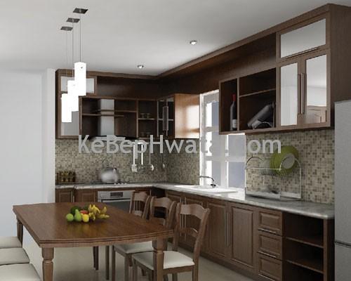 Tủ bếp bằng inox cánh gỗ do công Hwata cung cấp